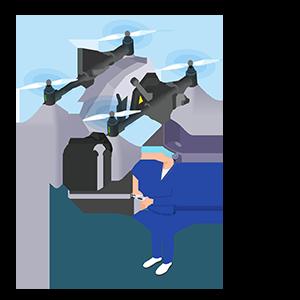 ドローンを飛ばすトライソリューションズ株式会社の社員のイラスト
